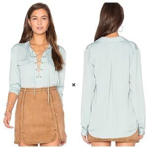 L'Academie The Safari Lace Up Blouse in Seafoam